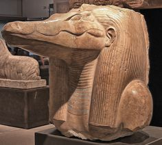 statue of the God Sobek from the mortuary temple of King Amenemhat III (ca. 1859–1813 BCE, XII Dynasty, Middle Kingdom), south of Shedet-Krokodilopolis (Arsinoe), Piam/Phiom region (Moeris Lake). Now...