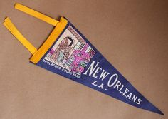 FREE SHIPPING Vintage Felt Pennant Flag-Travel Momento- Brulatour Courtyard in New Orleans, LA.