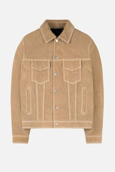 Beige cotton blend and leather Suede Jacket from Ami Alexandre Mattiussi. Suede Jacket, Vest Jacket, Mens Fashion, Denim, Blazers, Cotton, Leather, Jackets, Shopping
