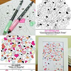 Free Valentine Printables by U Create Tree Coloring Page, Coloring Book Pages, Printable Coloring Pages, Free Coloring, Adult Coloring, Valentine Day Crafts, Be My Valentine, Valentine Coloring Pages, Heart Tree