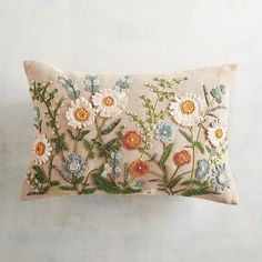 Beaded Daisies Lumbar Pillow from Pier Looks beautiful on my French style chair Cushion Embroidery, Hand Embroidery Stitches, Crewel Embroidery, Hand Embroidery Designs, Embroidery Patterns, Pillow Texture, Brazilian Embroidery, Shabby Chic Bedrooms, Lumbar Pillow