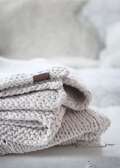 blanket by broste copenhagen, also available in other colors - Leather Label Textiles, Design Rustique, Leather Label, Knitting Accessories, Classy Women, Warm And Cozy, Cozy Winter, Knit Crochet, Cotton Crochet