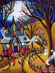 Halloween Kids Witch Ghost Jack O Lantern Fall Whimsical Folk Art renie qae Whimsical Halloween, Halloween Artwork, Halloween Painting, Halloween Clipart, Halloween Prints, Halloween Pictures, Scary Halloween, Halloween Themes, Vintage Halloween