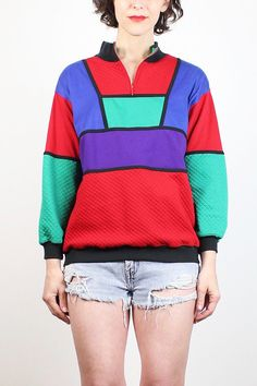 Vintage 80s Sweatshirt Quilt Texture Red Green Blue Black Color Block Boyfriend Sweater New Wave 1980s Jumper Mod Mondrian Tshirt S M Medium #1980s #80s #sweatshirt #sweater #tshirt #jumper #color #block #blocking #mod #new #wave