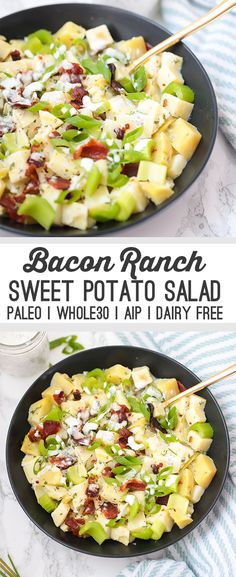 This bacon ranch sweet potato salad is the perfect summertime side dish! Serve it at picnics, barbecues, or just for a weeknight dinner. It's paleo, AIP, and Whole30.