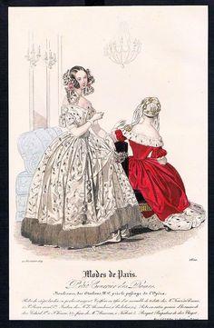 1839 Biedermeier Mode Kupferstich victorian fashion antique print Paris etching in Antiquitäten & Kunst, Grafik, Drucke, Originaldrucke 1800-1899 | eBay