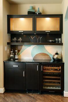 Contemporary Kitchen, Wine Bar. Designer: Nancy Stanley, Kitchens By Design