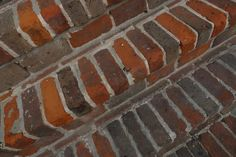 Loose or broken brick steps often require repair. If you are dealing with cracked or broken bricks, you can repair them individually or replace the broken bricks. Loosened bricks simply need to be fixed back into place. Brick Porch, Brick Walkway, Brick Patios, Patio Stairs, Concrete Stairs, Concrete Patio, Exterior Stairs, Stairs Repair, Porch Repair