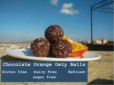 Chocolate orange oaty balls are the perfect healthy treat which are gluten free, dairy free and refined sugar free. Chocolate Orange, Healthy Treats, Gluten Free Recipes, Free Food, Sugar Free, Dairy Free, Balls, Snacks, Easy