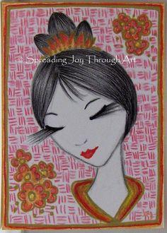 ACEO Original Art Joy Japanese Goddess Love Beautiful Woman Good Fortune Beauty #Miniature