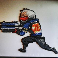 Soldier 76 - Overwatch perler beads by quad9art