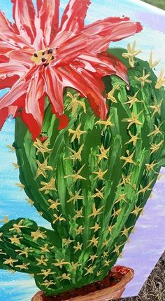 Abstract Acrylic Cactus Wall Art Finger by VeronicaMillerArt
