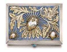 AJEWELLED SILVER AND ENAMEL CIGARETTE CASE, BOLIN, WORKMASTER KONSTANTIN LINKE, MOSCOW, 1899-1908
