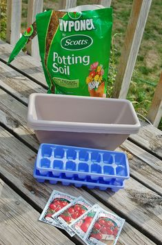 Never thought about using ice trays to start my seeds - reusable.would just need to get BP free ones then drill small holes in the bottom for drainage.