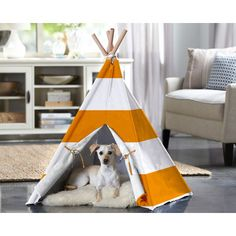 Merry Products Teepee Dog Bed Orange and white striped bed for your pup!