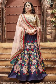 Multicolor Indian Bridal Silk Embroidered Party Wear Lehenga Choli