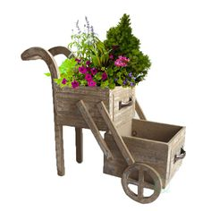 15.9 in. W x 6.5 in. D x 13 in. H Wood Double Tier Planter Cart, Antique Brown