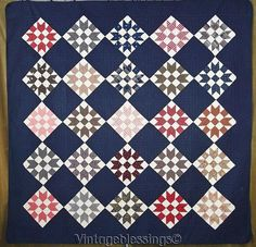 """Gorgeous Early ANTIQUE 1880 Deep Indigo Blue QUILT 80x80""""Swing in the Center"""