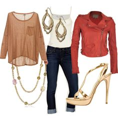 Loose tan tee + coral motorcycle jacket + gold accents