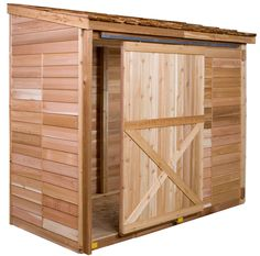 The Bayside shed comes with a Dutch door and fixed window. The exterior is finished in 100% Western Red Cedar. cedarshed.com