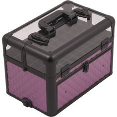 SUNRISE Nail Case Polish Organizer E3310 Professional, 54 Bottle Capacity, Clear View Acrylic Top with Shoulder Strap, Purple Diamond *** Read more at the image link.