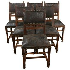 Image result for renaissance revival oak dining chair  embossed leather seats