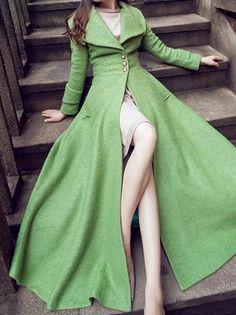 Green Lapel Collar Long Sleeve Pocket Coat Dress
