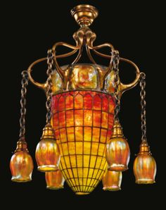 "Rare ""Geometric and Turtle-Back"" Six-light Chandelier by Tiffany Studios - Lot 329 Sale, Sotheby's Stained Glass Lamps, Leaded Glass, Antique Lamps, Antique Lighting, Art Nouveau, Art Deco, Tiffany Glass, Cool Lighting, Lighting Design"