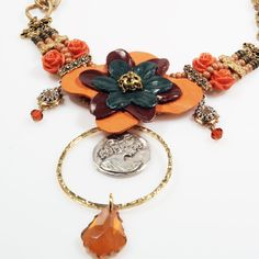 Statement necklace bib  leather flower  by CatenaSieraden on Etsy