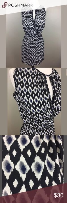 """GREYLIN Anthropologie Ikat Print Surplice Dress Label-Greylin  Style-Ikat Surplice Dress  Condition-Excellent condition  Size-M  Material-Polyester (dress does notstretch except the waist band up to 32"""")  Measurements:  Bust-40""""  Waist- 26""""  Hip- 40""""  Length-36"""" Greylin Dresses Mini"""