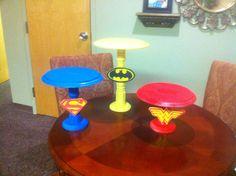 Cupcake/Cake Stands Avengers Birthday, Batman Birthday, Girl Birthday, Marvel Baby Shower, Superhero Baby Shower, Girl Superhero Party, Superman Party, Wonder Woman Birthday, Wonder Woman Party