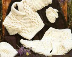 Baby Jacket, Sweater, Hat and Mittens Knitting Pattern PDF instant download. To fit size 16 to 30 inch chest. Knit with Aran Yarn