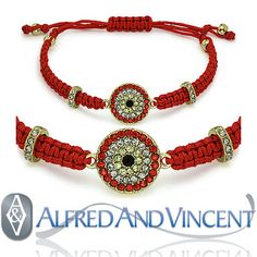 Features a round charm encrusted with cubic zirconia crystals arranged to symbolize the Evil Eye charm. The charm is finished with braided wristbands adorned with brass w/ cz crystals and round brass beads then finished with a knotted piece to fasten both ends of the bracelet to fit most wrist sizes. Visit us at AlfredAndVincent.com for more Evil Eye charm designs.