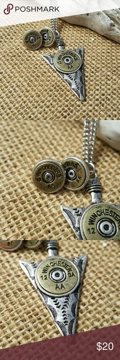 """Arrowhead and shotgun shell necklace and earrings Jewelry set is burnished two tone and the best accessory for fall. Necklace is 10 1/2"""" long plus extender and earrings have backers. Come from a smoke free and pet free home. Price is firm as this is a boutique piece from my store, however I would consider making a bundle price with the matching bracelet. Just message me if interested. SERIOUS INQUIRIES ONLY PLEASE! Jewelry"""