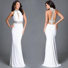 Long JVN by Jovani High Neck Open Back Prom Dress