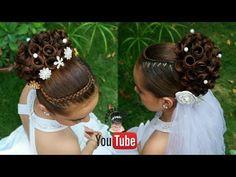 PEINADO ELEGANTE RECOGIDO ALTO PARA GRADUACIÓNES BODAS NOVIAS XV 15 AÑERAS O COMUNIÓN - YouTube Mixed Girl Hairstyles, Black Hair Updo Hairstyles, Easy Bun Hairstyles, African Braids Hairstyles, Little Girl Hairstyles, Elegant Hairstyles, Kids Hairstyles For Wedding, Graduation Hairstyles, Communion Hairstyles