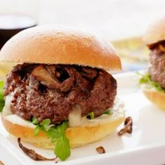 Tasty Truffle Cheese-Stuffed Burger with Crispy Trumpet Mushrooms! YUMMY!  #burgers #burgerlovers #mushrooms #truffle #bbq