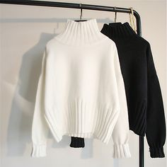 Oversized Pullover, Pullover Sweaters, Women's Sweaters, Cashmere Sweaters, Casual Sweaters, Loose Sweater, Ribbed Sweater, White Turtleneck, Feminine Fashion