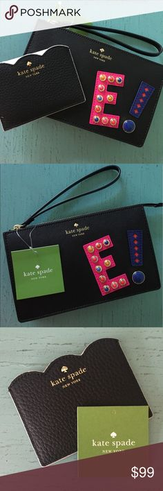 NEW! Kate Spade Wristlet & Card Holder BUNDLE NWT! hartley lane initial leila initial Wristlet and Leewood place Card Holder.  express yourself: the hartley lane leila--a zip-top wristlet roomy enough for all of your essentials (including your iphone)--is decorated with the initial of your choice, in bright embellished leather Crosshatched leather with matching trim, quick & curious lining, 14-karat gold plated hardware, interior slide pocket kate spade Bags Clutches & Wristlets