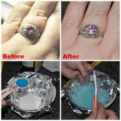 "Did you know you can make your own ring cleaner? I did and my wedding ring looks awesome! Share this ""recipe"" with your friends:   1 tablespoon salt 1 tablespoon baking soda 1 teaspoon dish detergent 1 cup hot water  Line bowl with foil. Put salt & baking soda in bowl, add dish soap and then hot water. Let jewelry sit for 10 minutes then scrub gently with toothbrush. #Vocalpoint"