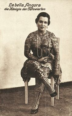 1910 Germany Circus Sideshow Tattoo Queen