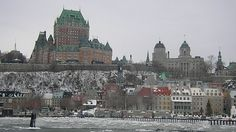 This is Quebec City, Canada. The building that looks like a castle is Chateau Frontenac hotel and this angle is looking towards Old Quebec. Old Quebec, Montreal Quebec, Montreal Canada, Quebec City, Chateau Frontenac, Great Places, Beautiful Places, Chute Montmorency, Cupcake