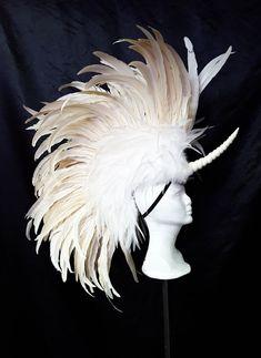 Unicorn Mane Headdress in White- Feather Mohawk, Costume, Cosplay, Headpiece, Hat
