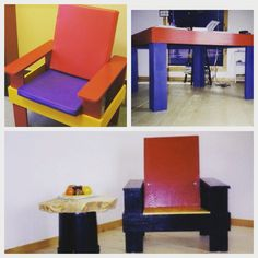 Bauhaus inspired upcycled office furniture primary colored.