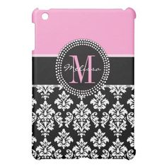 Black Damask iPAD MINI Case Monogram PINK