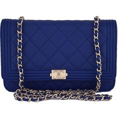 ab62ea1c32f8 Pre-Owned NWT 16B Chanel Caviar Blue Boy Classic Quilted WOC Wallet on.