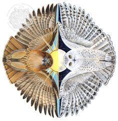 Spirits of Day and Night Flight - Snowy Owl and Red tail Hawk. This is my next tattoo on April 16th!