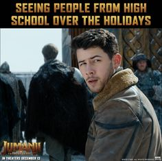 Spend your holidays with Nick Jonas and in theaters Thursday! Funny Mom Memes, Hilarious, Musicals Broadway, Broadway Theatre, Musical Theatre, Best Party Songs, Jumanji Movie, Text Memes, Jonas Brothers
