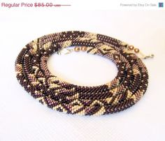 CHRISTMAS SALE Long Beaded Crochet Rope Necklace  by lutita, $76.50