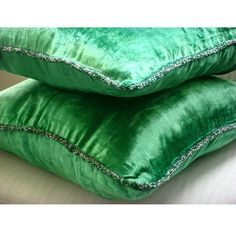Green Shimmer Decorative Emerald Green Velvet Throw Pillow Cover, 20x20 inch #TheHomeCentric #Contemporary #DecorativeThrowPillowCover